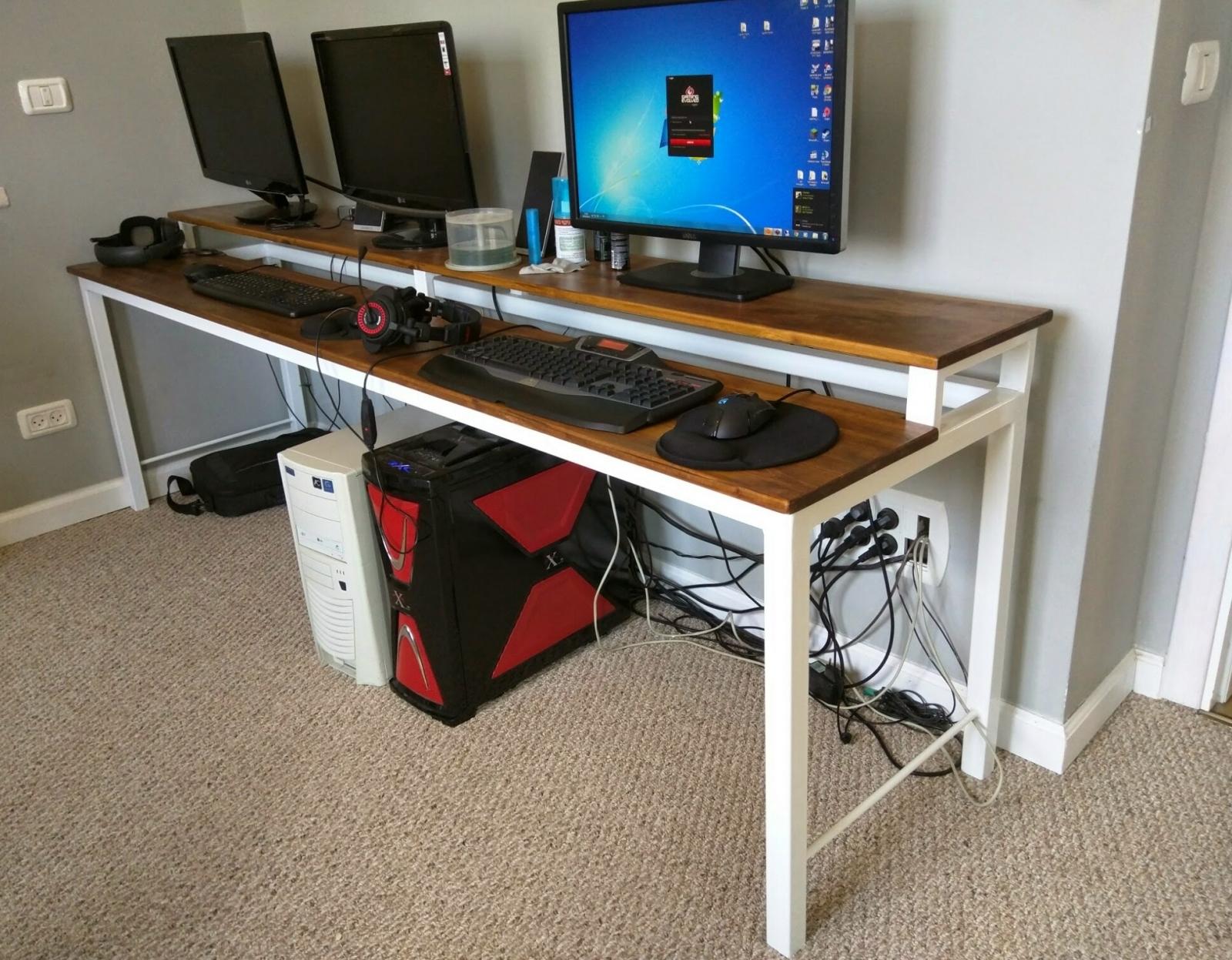 שולחן מחשב מתכת עץ מלא